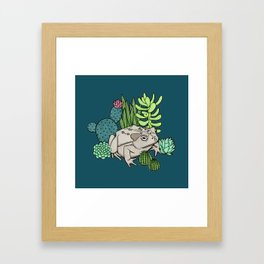 Toad with Succulents - Dark Turquoise Framed Art Print