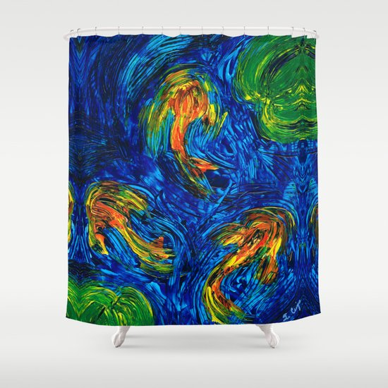 Impressionist koi fish by sharon cummings shower curtain for Koi fish bathroom decorations
