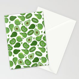 Green fruits and vegetables Stationery Cards