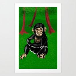 chimp baby Art Print