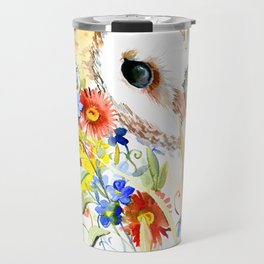 barn owl and flowers floral owl decor artwork Travel Mug