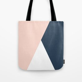 Elegant blush pink & navy blue geometric triangles Tote Bag