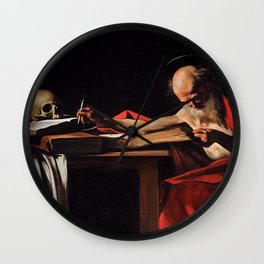 Saint Jerome Writing - Caravaggio Wall Clock