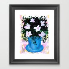 Blue Vase with Foliage and White Flowers Framed Art Print