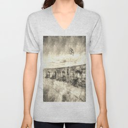 Edinburgh Castle Vintage Unisex V-Neck