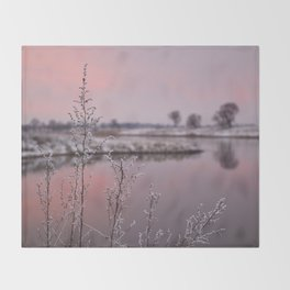 Winter Sunset At River Bank Throw Blanket