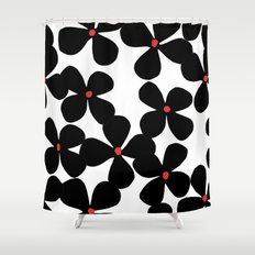 Black flowers Shower Curtain