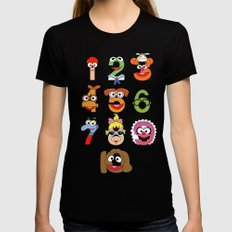 Muppet Babies Numbers SMALL Black Womens Fitted Tee