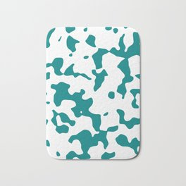 Large Spots - White and Dark Cyan Bath Mat