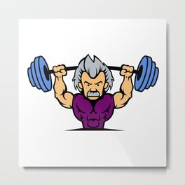 Old man lifting weights cartoon Metal Print