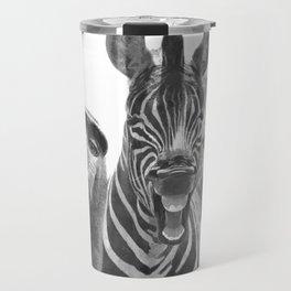 Black and White Jungle Animal Friends Travel Mug