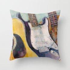 three guitars Throw Pillow