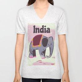 India Elephant travel poster Unisex V-Neck