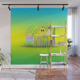 Happy Easter Egg, Chick and Snowdrop Wall Mural