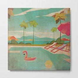 Palm Springs Life Kitschy Retro Vintage Landscape Watercolor Mid Century Metal Print
