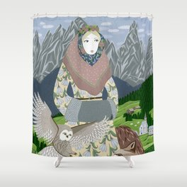 Lady with an owl and a dog Shower Curtain