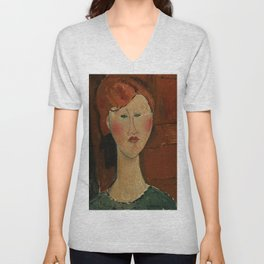 "Amedeo Modigliani ""Femme aux cheveux rouge (Woman with Red Hair)"" Unisex V-Neck"