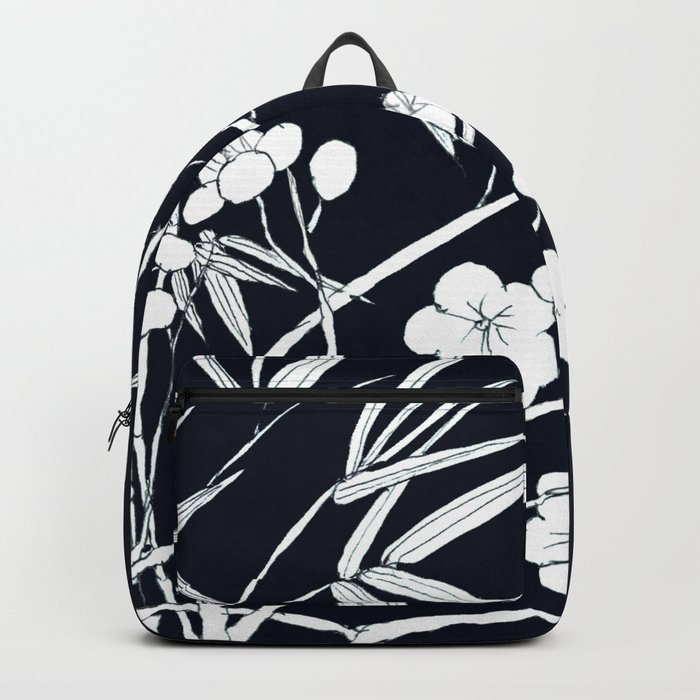 bamboo and plum flower white on black Backpack