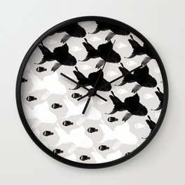 Fish Black White Wall Clock