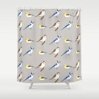 gray pattern Shower Curtains featuring Bird Pattern Gray by Tammy Kushnir