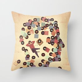 Back to Vinyl Throw Pillow