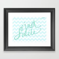Just Smile - hand lettered calligraphy art print Framed Art Print