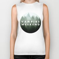 vampire weekend Biker Tanks featuring Vampire Weekend trees logo by Van de nacht