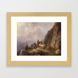 Adolf Schmidt (1827-1888) Elegant Group of City Folk on a Mountain Tour Framed Art Print