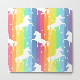 Rainbow Unicorns Metal Print