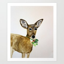 the holly and the ivy christmas deer Art Print