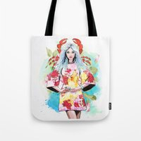 cancer Tote Bags featuring Cancer by Sara Eshak