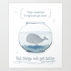 Whale in a Fishbowl Art Print