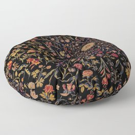 Medieval Flowers on Black Floor Pillow