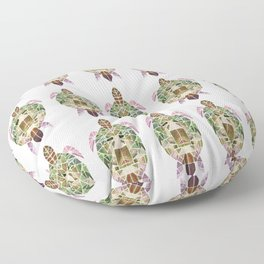 green mosaic turtle Floor Pillow