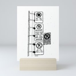 Montréal - Parking Hell - Black Mini Art Print