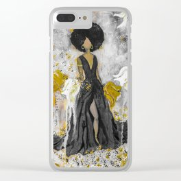 Dear Queen Black and Gold Clear iPhone Case