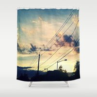 washington dc Shower Curtains featuring Petworth at Sunset (Washington, DC) by Carsick T-Rex
