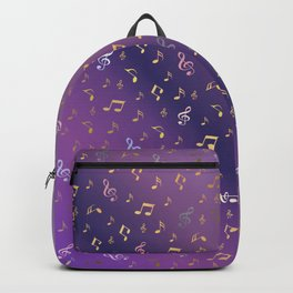 shiny music notes dark purple Backpack