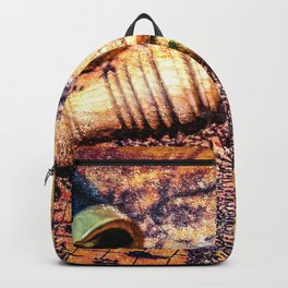 Vintage Wooden Pipe And A Looking Glass On An Old Map Backpack