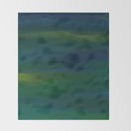 Navy, Peacock Green Abstract Throw Blanket