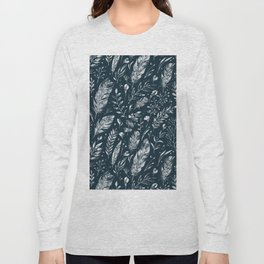 Feathers And Leaves Abstract Pattern Black And White Long Sleeve T-shirt
