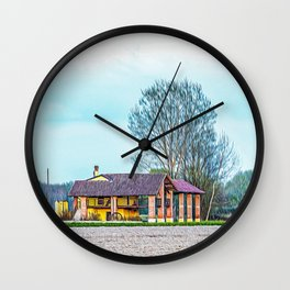 Farmhouse in the Ticino river natural park during winter before sunset Wall Clock