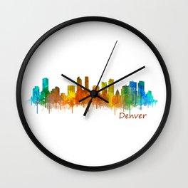 Denver Colorado City Watercolor Skyline Hq v2 Wall Clock