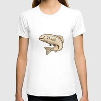 trout T-shirts featuring Rainbow Trout Jumping Cartoon  by patrimonio