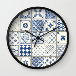 Blue Ceramic Tiles Wall Clock
