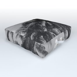 Palm Trees Black and White Photography Outdoor Floor Cushion