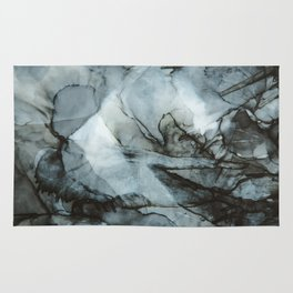 Dark Blue Abstract Painting Rug