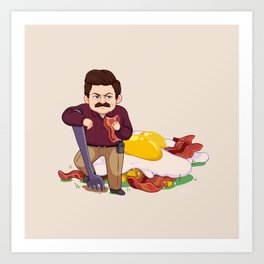 Parks and Food: Ron Art Print