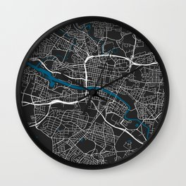Glasgow city map black colour Wall Clock