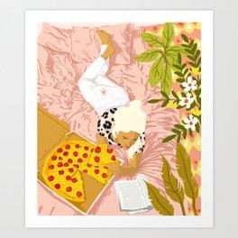 Pepperoni Pizza #illustration #painting Art Print
